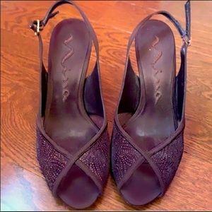 Nina brown glitter slingback heels size 7.5